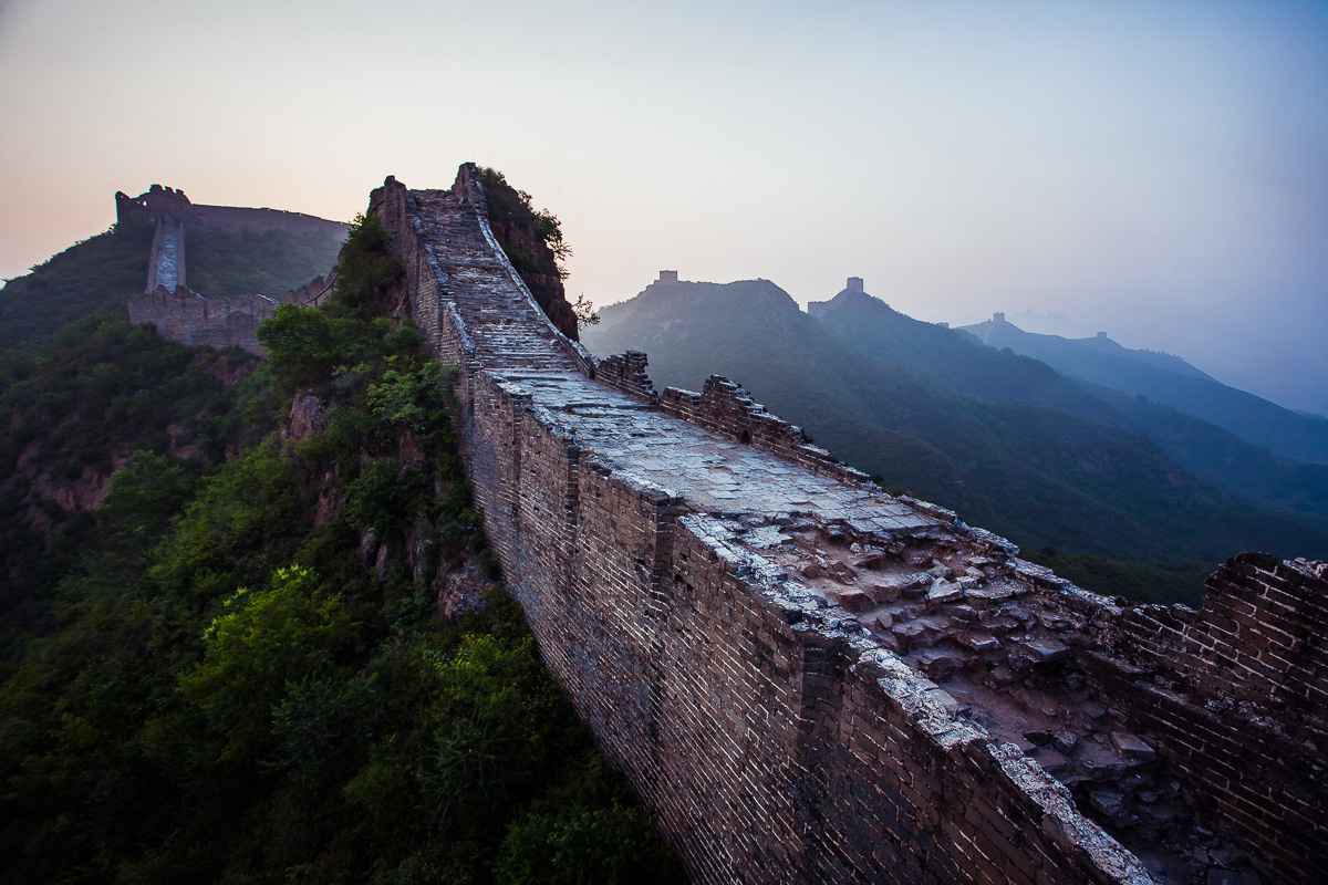 Taken just after 4am when the sun woke me. This is my favorite part of the Great Wall of China because its genuinely falling apart. There's something honest in that.